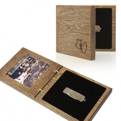 "Luxury Wood - Pendrive+Photo ""Our Wedding"" Case."
